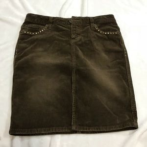 GUESS JEANS Skirt Size 24 Brown Stretch Corduroy